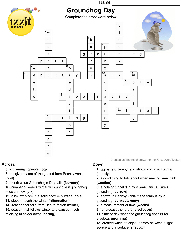 Happy Groundhog's Day!! Below Is A Printable Groundhog's Day Answer - Groundhog Day Crossword Puzzles Printable