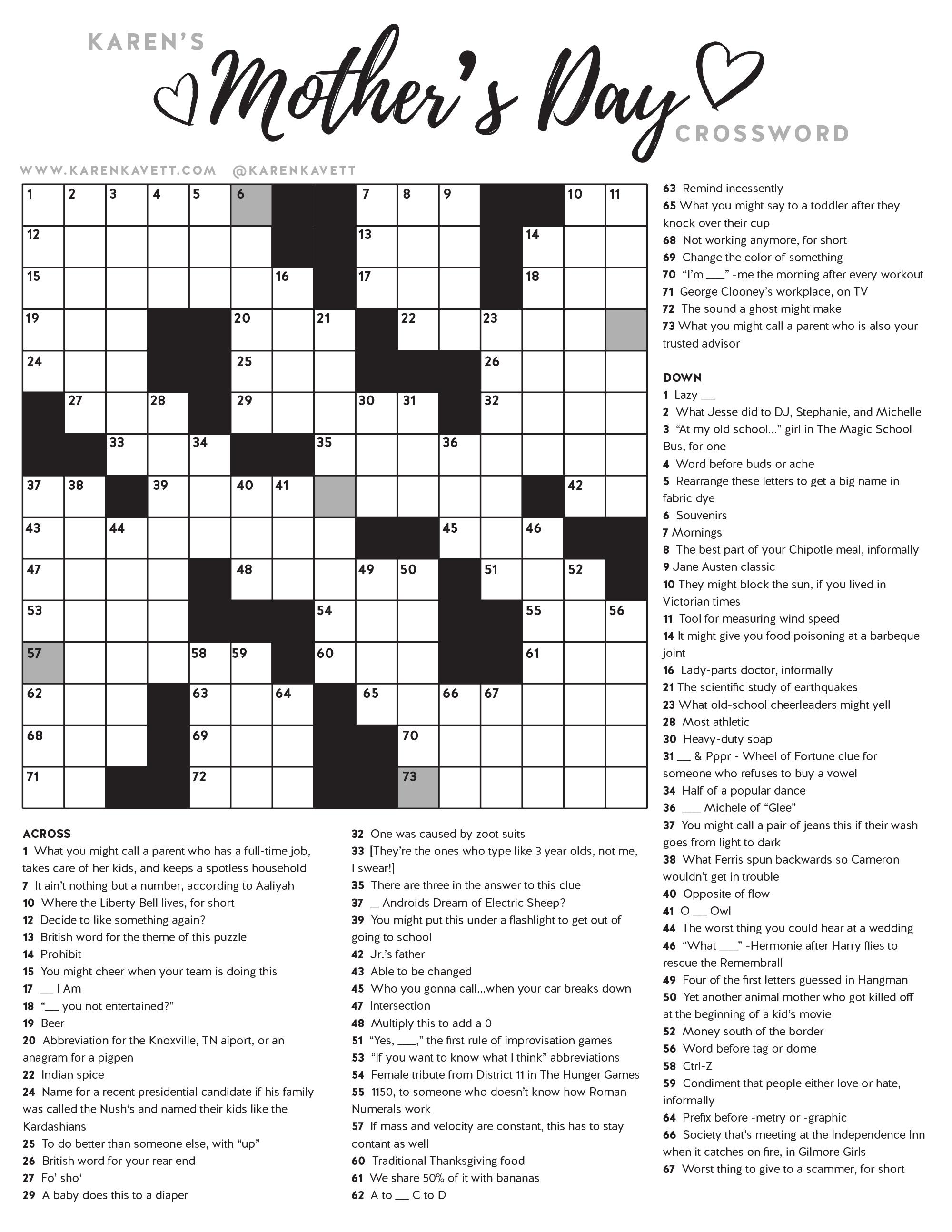Happy Mother's Day Crossword Puzzle - Karen Kavett - Printable Crossword Of The Day