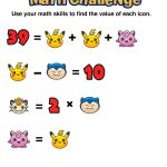 Have You Seen These Free Pokémon Math Puzzles? | Everything Math   Printable Pokemon Puzzles