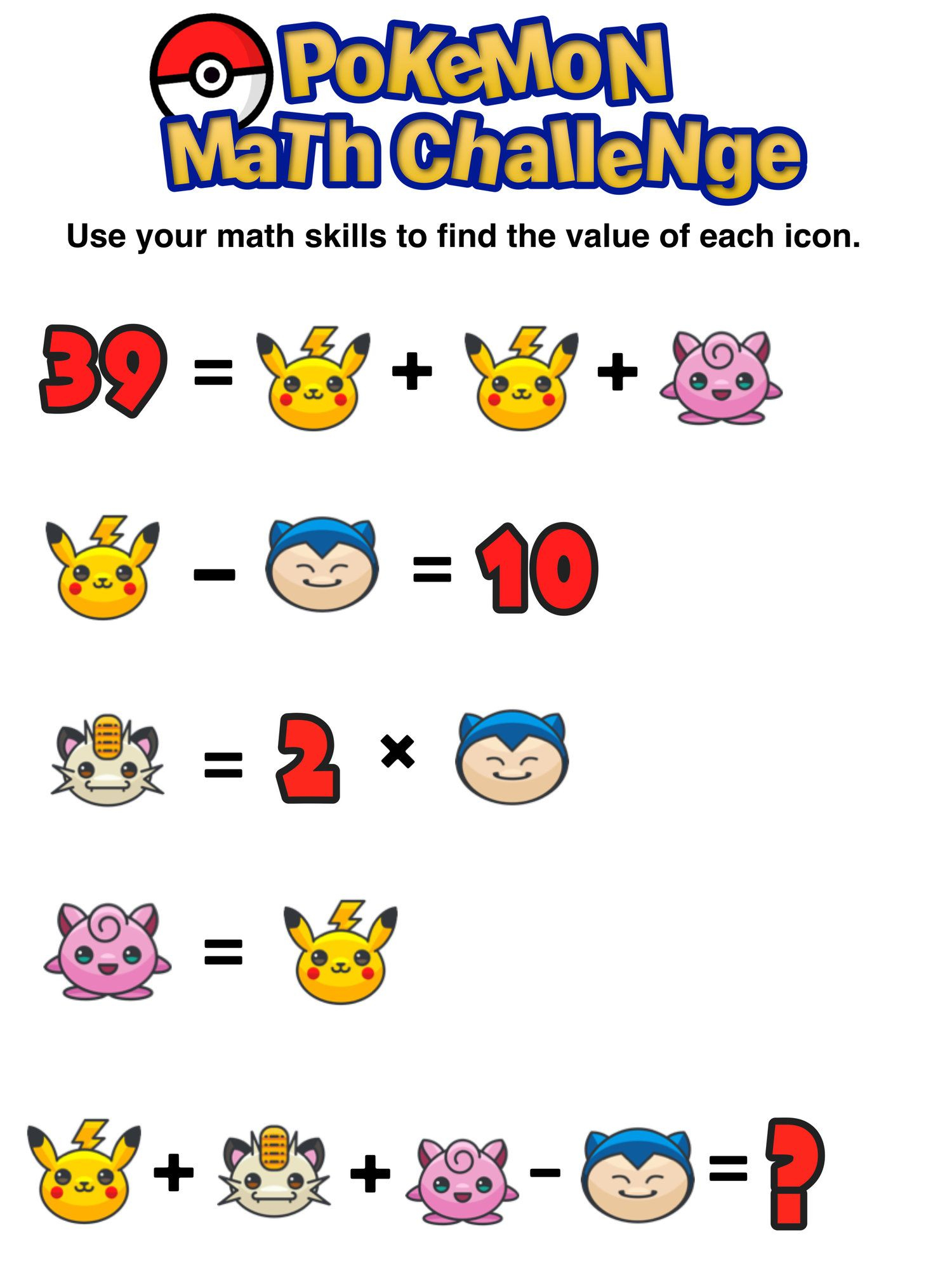 Have You Seen These Free Pokémon Math Puzzles? | Everything Math - Printable Pokemon Puzzles
