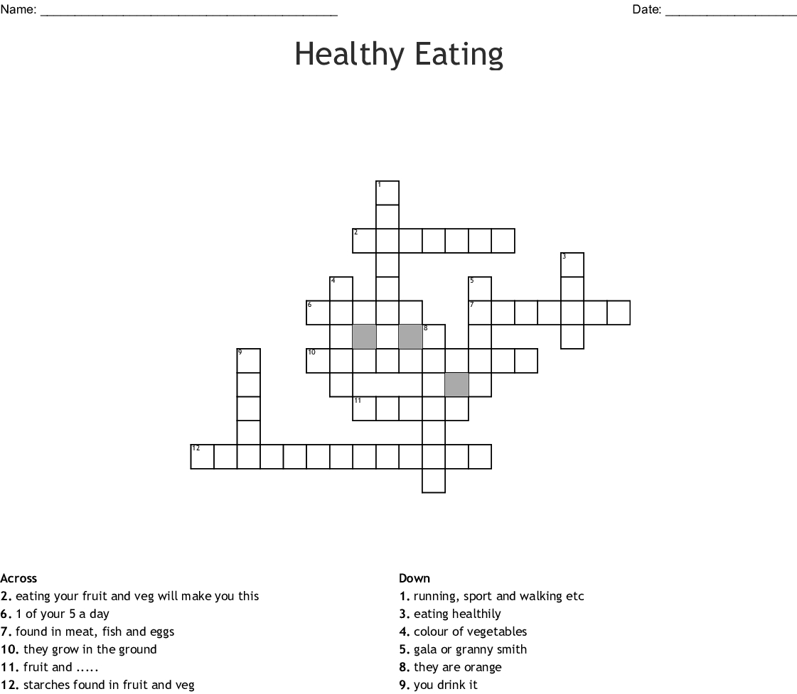 Healthy Eating Crossword - Wordmint - Printable Nutrition Puzzles