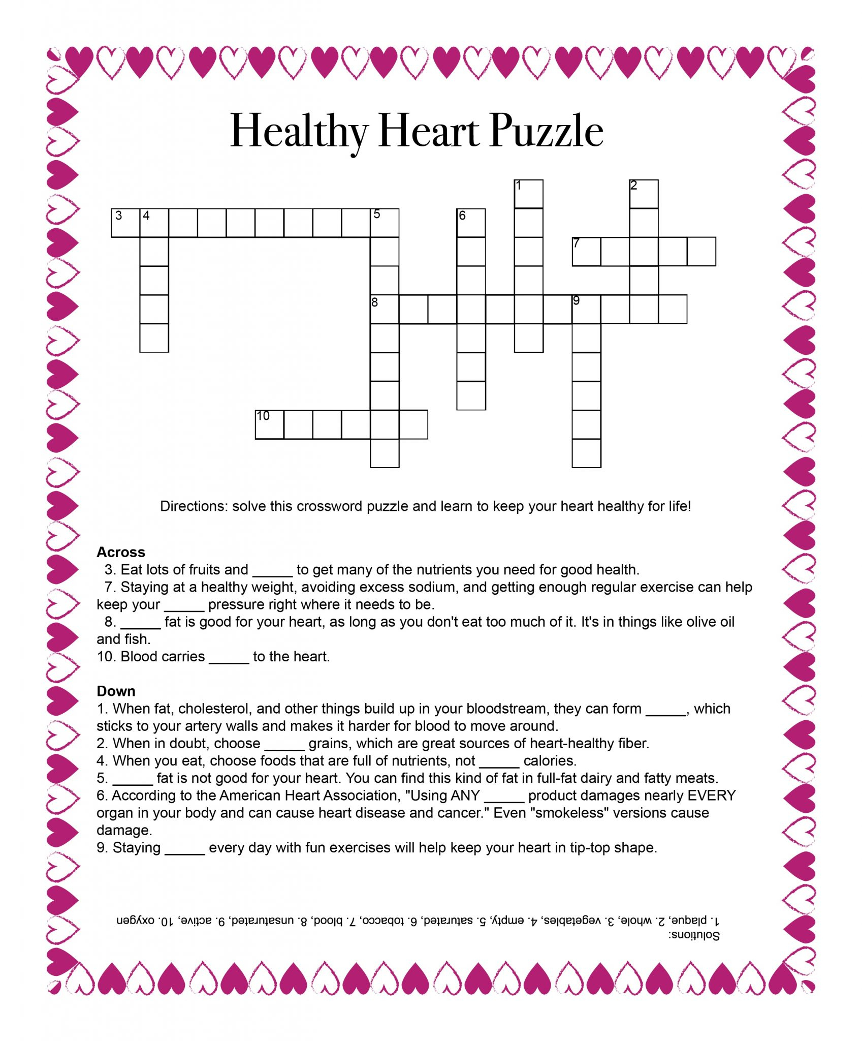 Healthy Heart Puzzle – Food And Health Communications - Printable Nutrition Crossword Puzzle