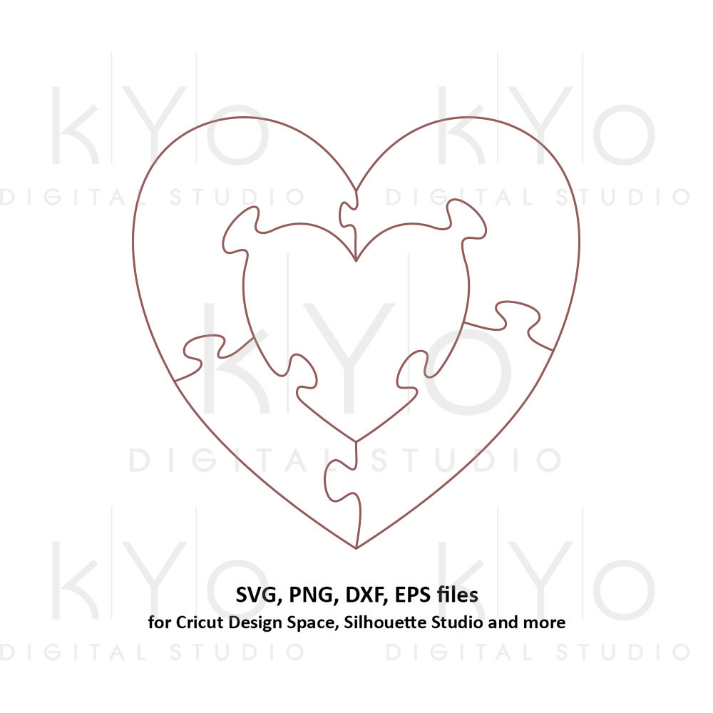 Heart In Heart Jigsaw Puzzle Templates Ai Eps Dxf Svg Png | Etsy - Printable Heart Puzzle Template
