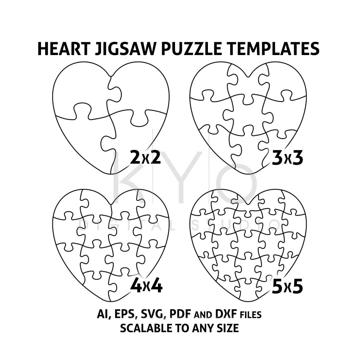 Heart Jigsaw Puzzle Templates Ai Eps Svg Pdf Dxf Files, Heart Shape - Printable Heart Puzzle Template