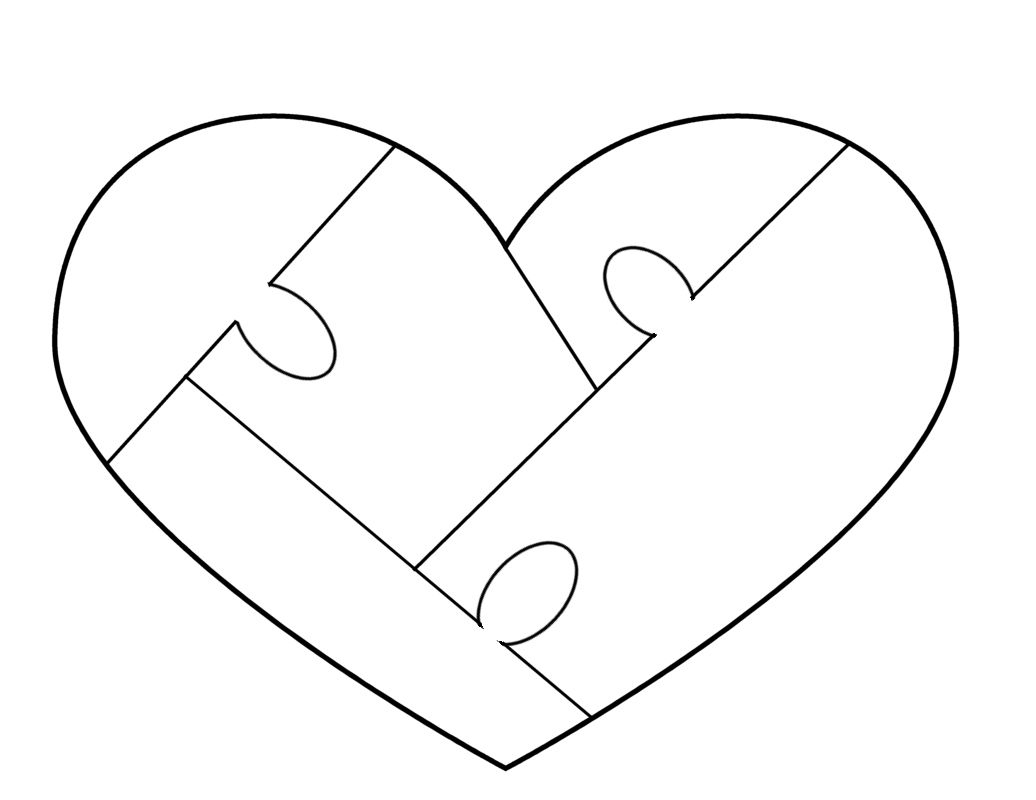 Heart Puzzle Template - Free To Use | Woodworking - Puzzles - Printable Heart Puzzle Template