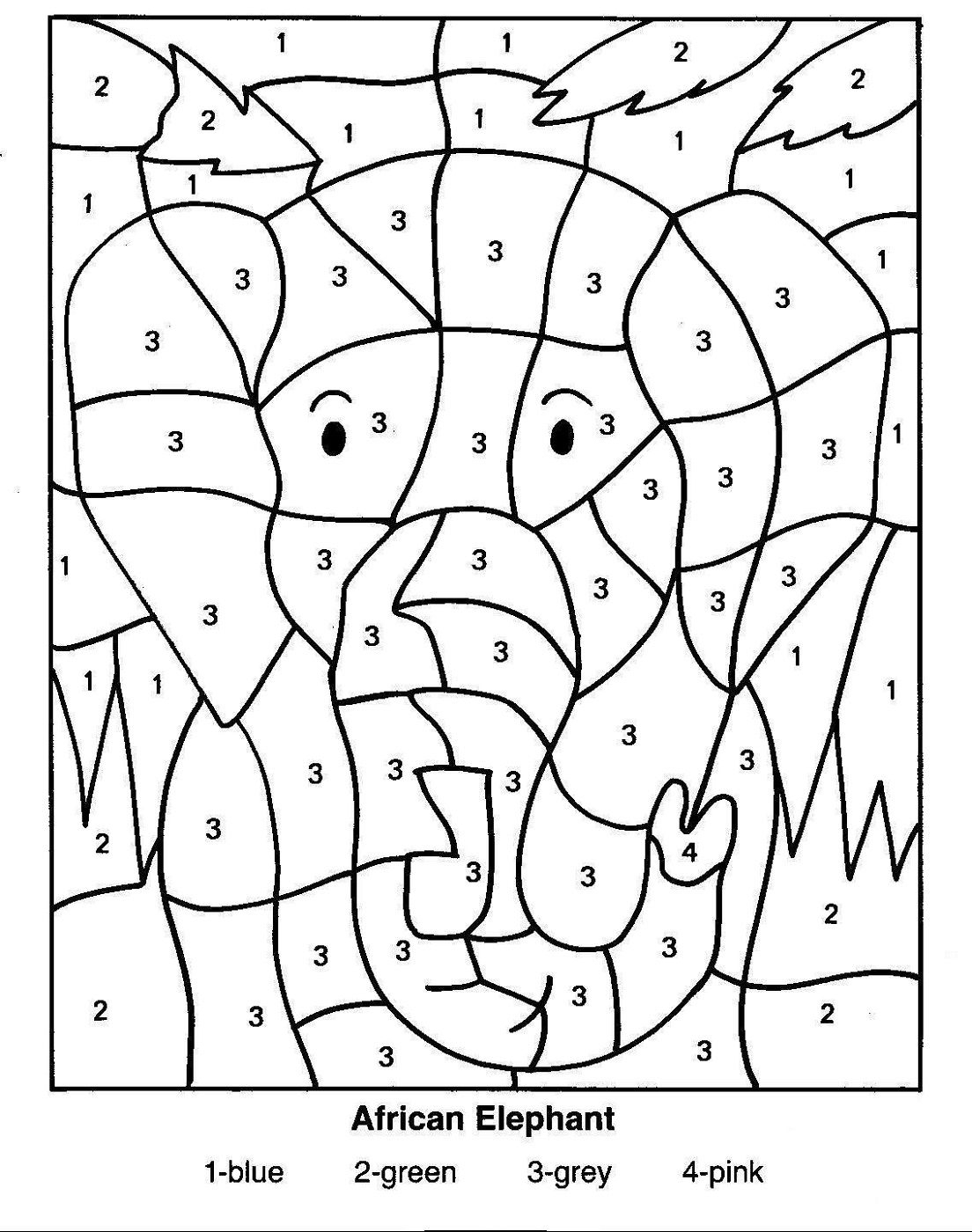 Hidden Picture Colornumber | Educative Puzzle For Kids - Printable Elephant Puzzle