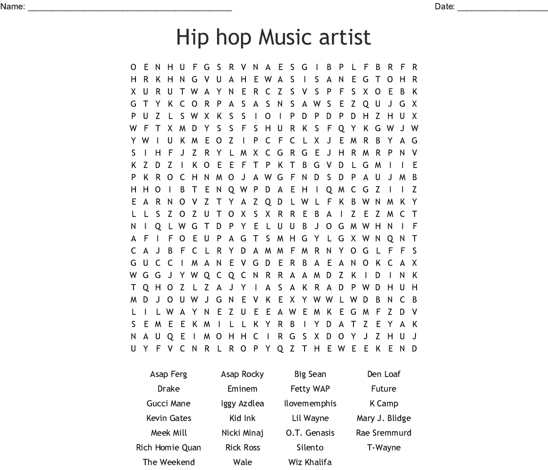 Hip Hop Music Artist Word Search - Wordmint - 90S Crossword Puzzle Printable