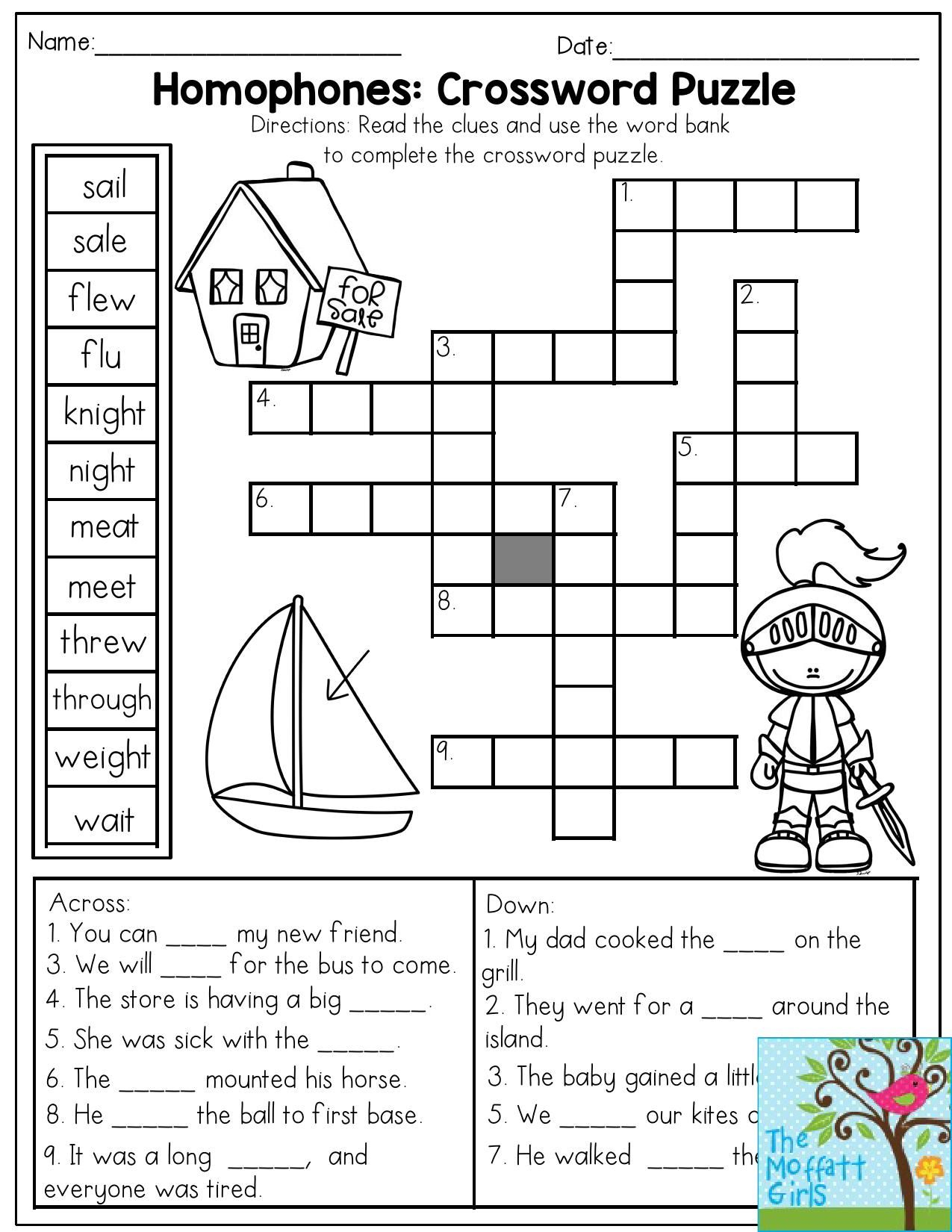 Homophones: Crossword Puzzle- Read The Clues And Use The Word Bank - Printable Crosswords Grade 3