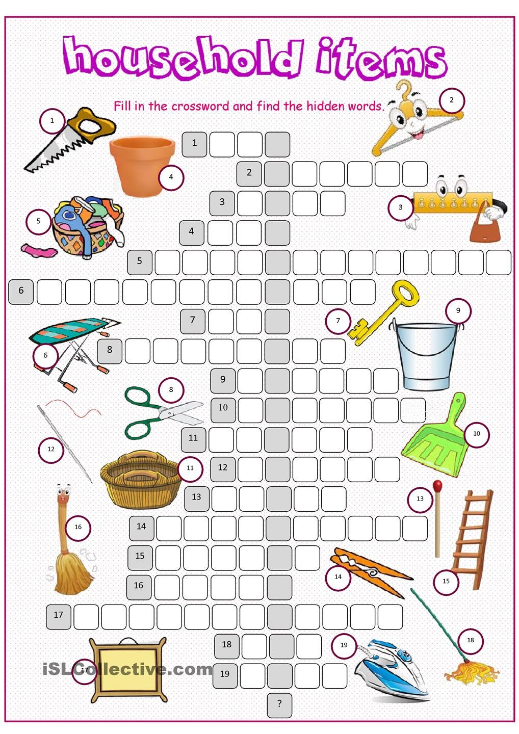 Household Items Crossword Puzzle | Esl - Vocabulary - House - Printable Esl Puzzles