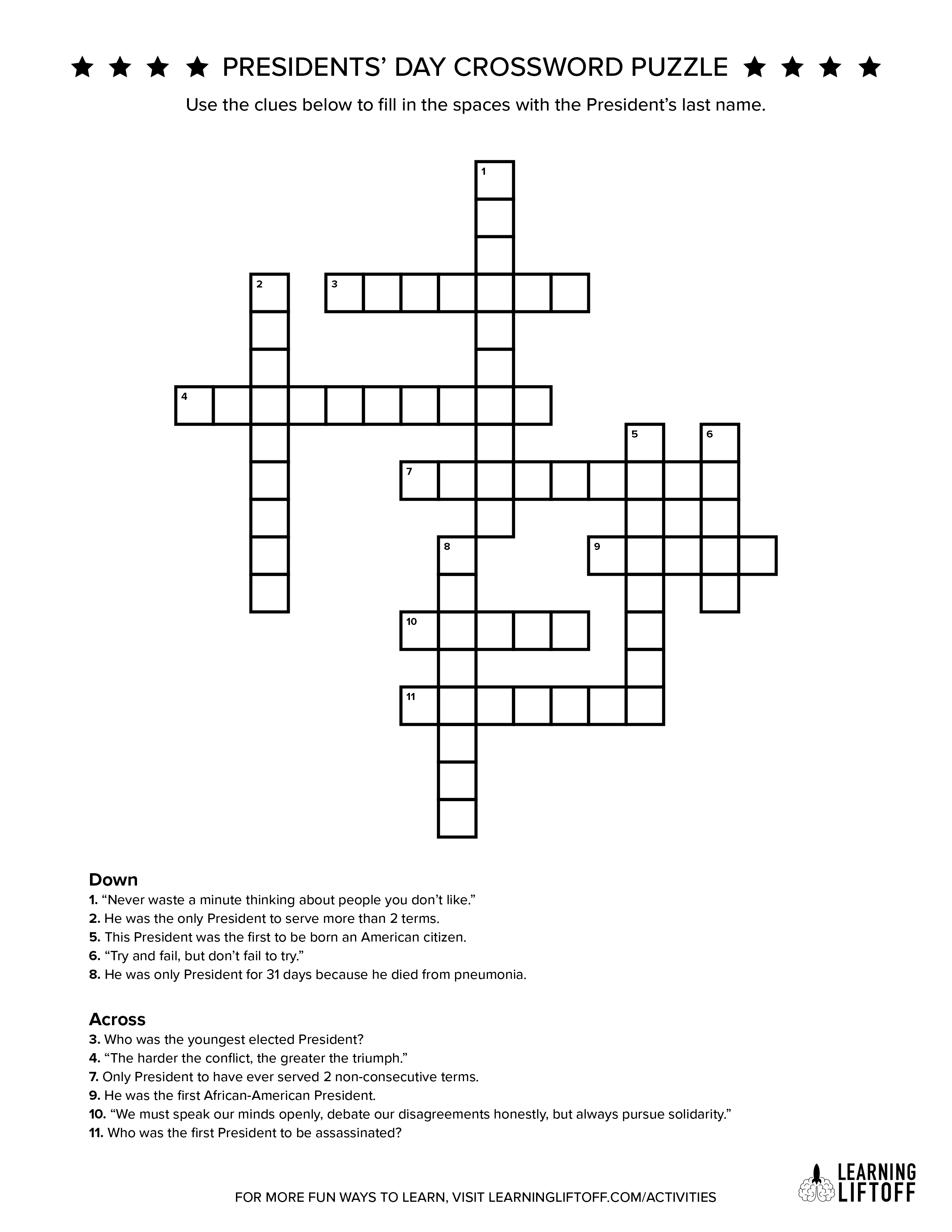 How Much Do You Know About Our U.s. Presidents? - Learning Liftoff - Presidents Crossword Puzzle Printable