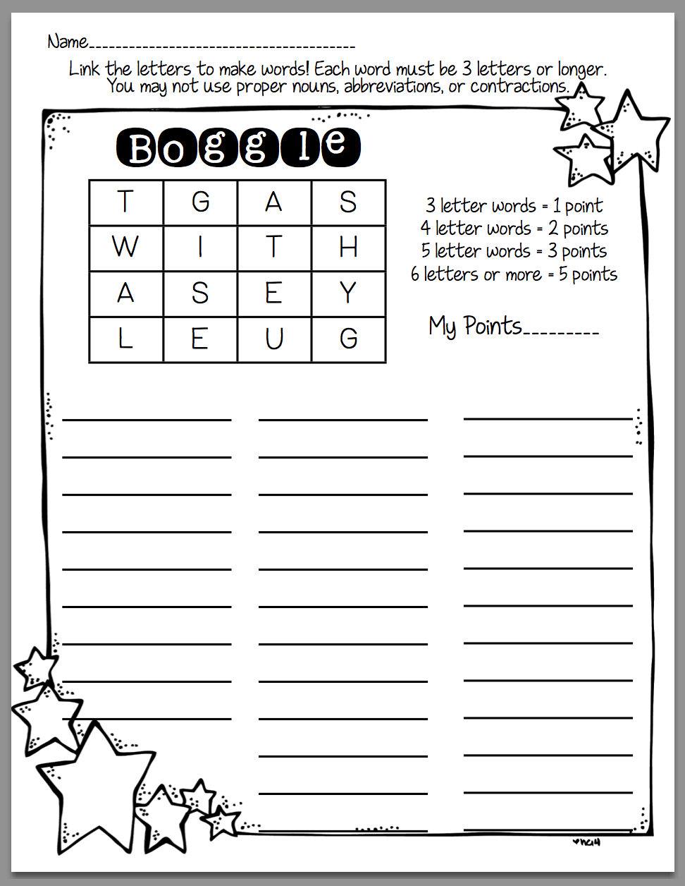 How To Use Boggle In Word Work (Sunny Days In Second Grade - Printable Boggle Puzzle