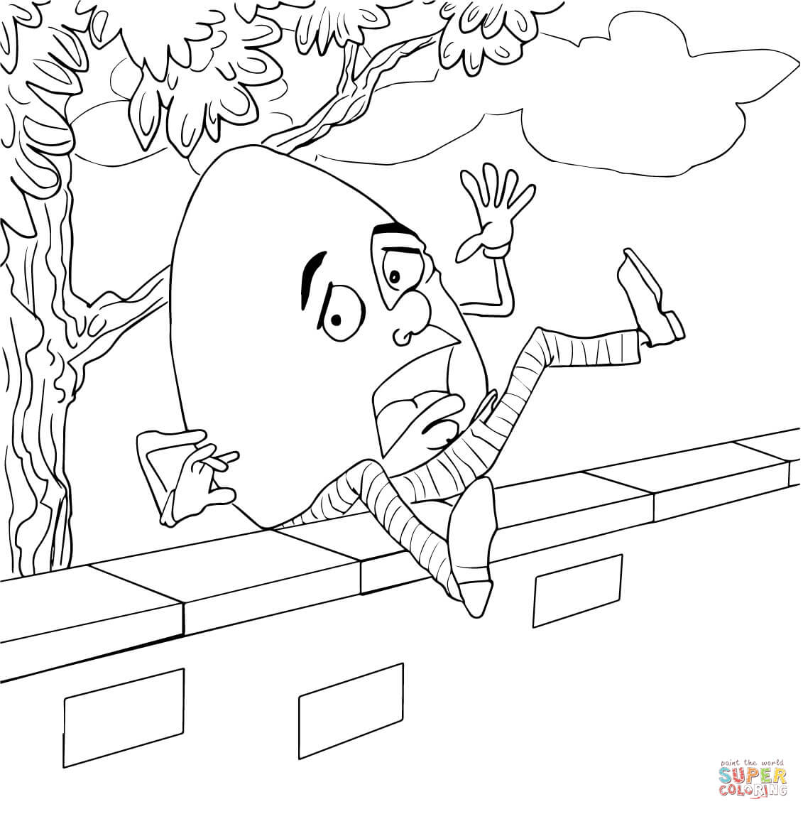 Humpty Dumpty Fell Off The Wall Coloring Page | Free Printable - Printable Humpty Dumpty Puzzle