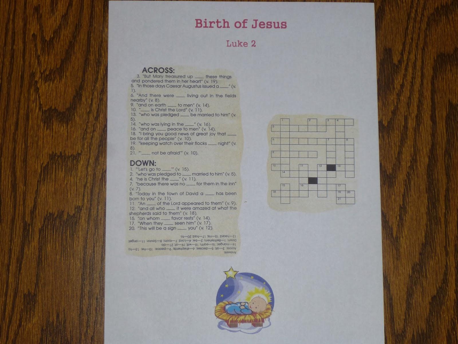 Ideas Unlimited: Birth Of Jesus Puzzle - Luke 2 (Niv) - Printable Jesus Puzzle