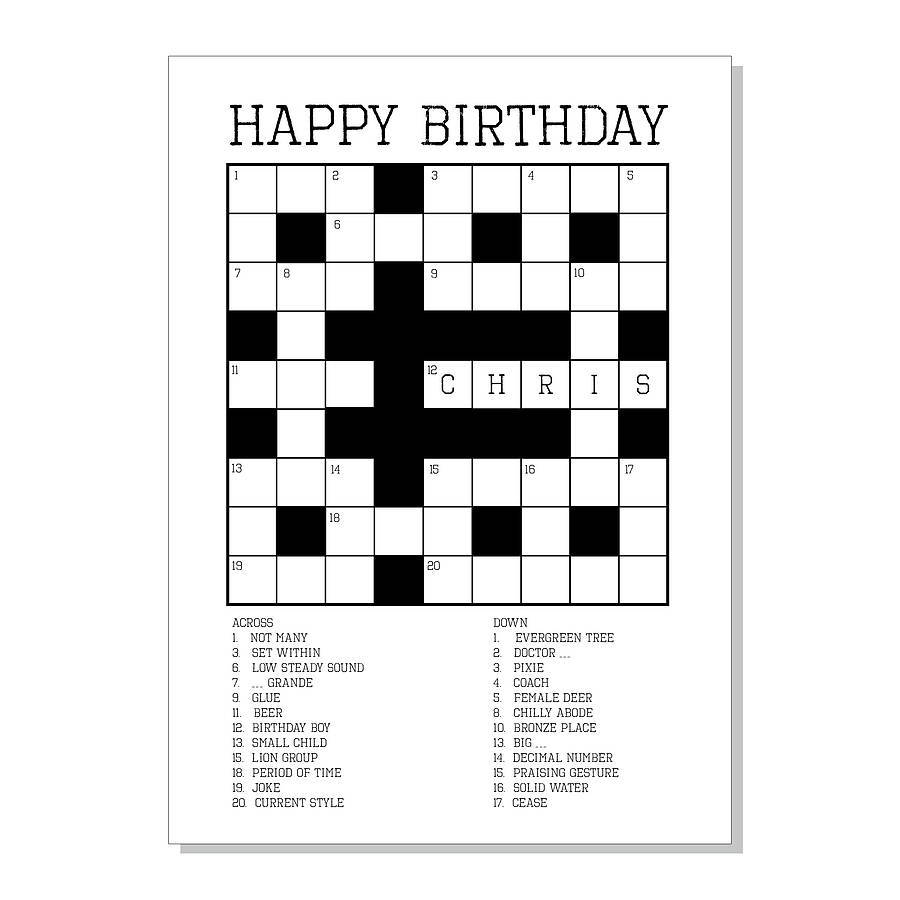 Images :kids Card Game Crossword , 4 Best Images Of Printable - Birthday Crossword Puzzle Printable
