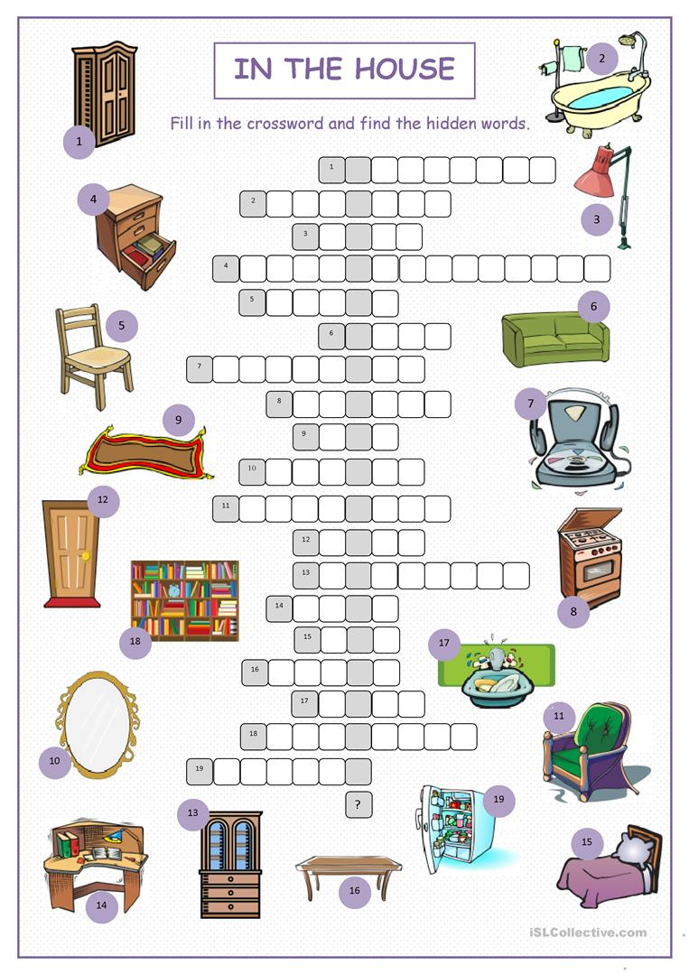 In The House Crossword Puzzle Worksheet - Free Esl Printable - Printable House Puzzle