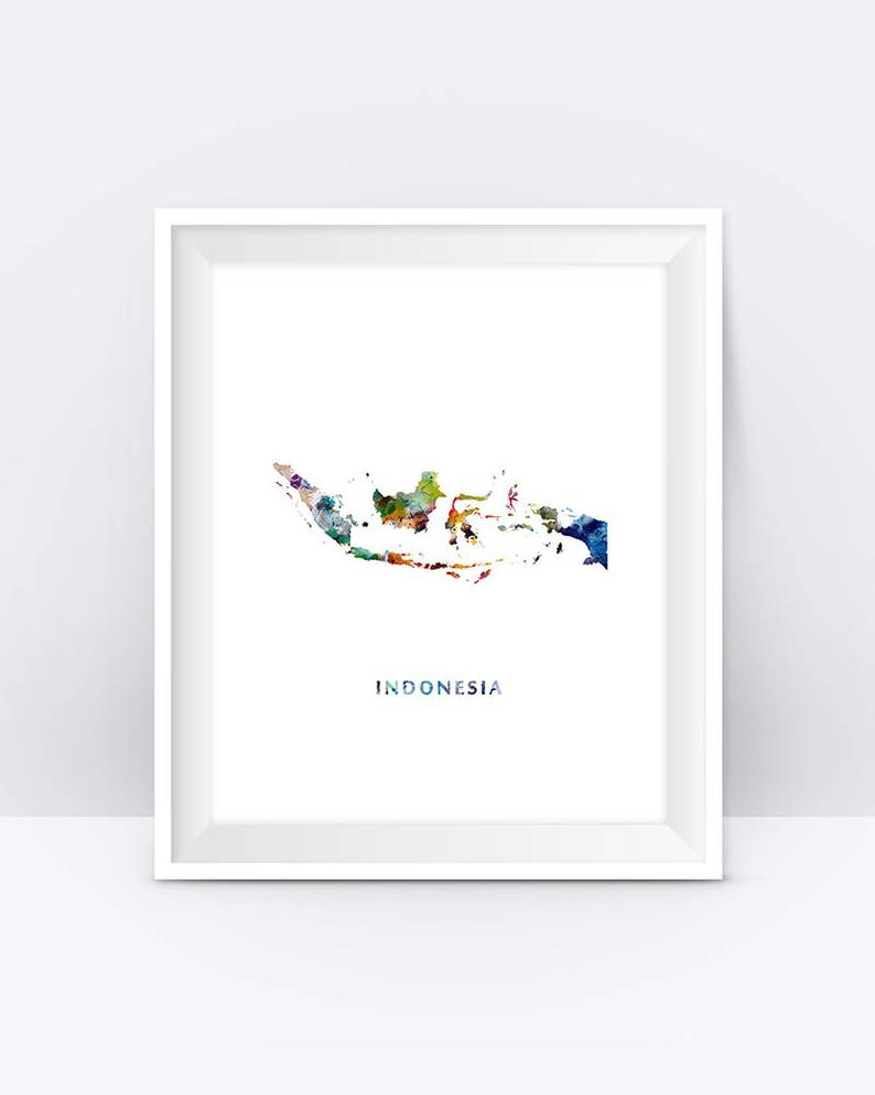 Indonesia Map Watercolor Print Jakarta Indonesia Poster | Etsy - Print Puzzle Jakarta