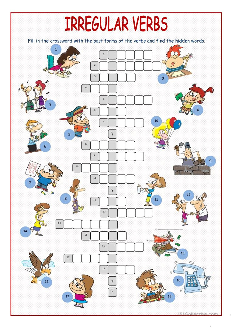 Irregular Verbs Crossword Puzzle Worksheet - Free Esl Printable - Verbs Crossword Puzzle Printable