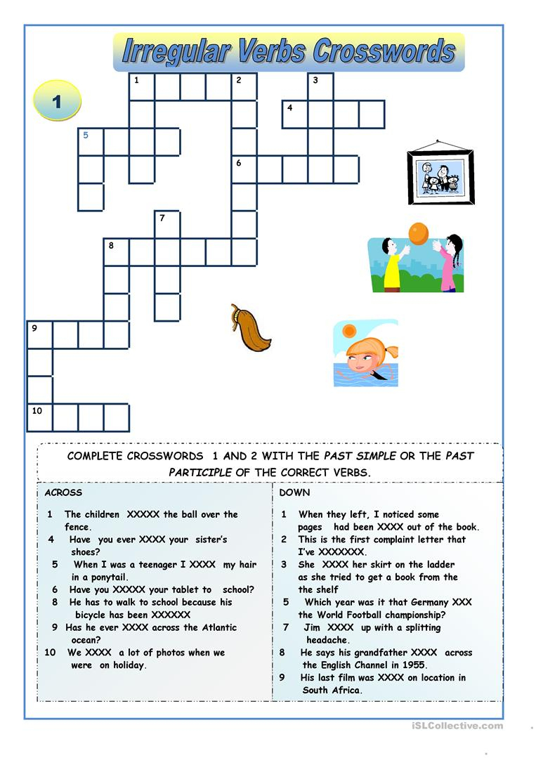 Irregular Verbs - Crossword Puzzles Worksheet - Free Esl Printable - Printable Crossword Puzzles Unblocked