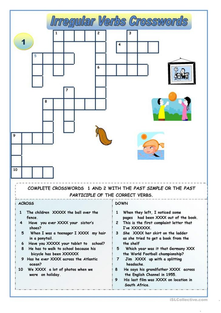 Verbs Crossword Puzzle Printable