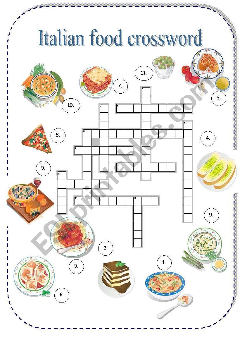 Italian Food Crossword - Esl Worksheetborna - Free Printable Italian Crossword Puzzles