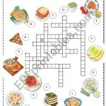 Italian Food Crossword   Esl Worksheetborna   Printable Italian Crossword Puzzles