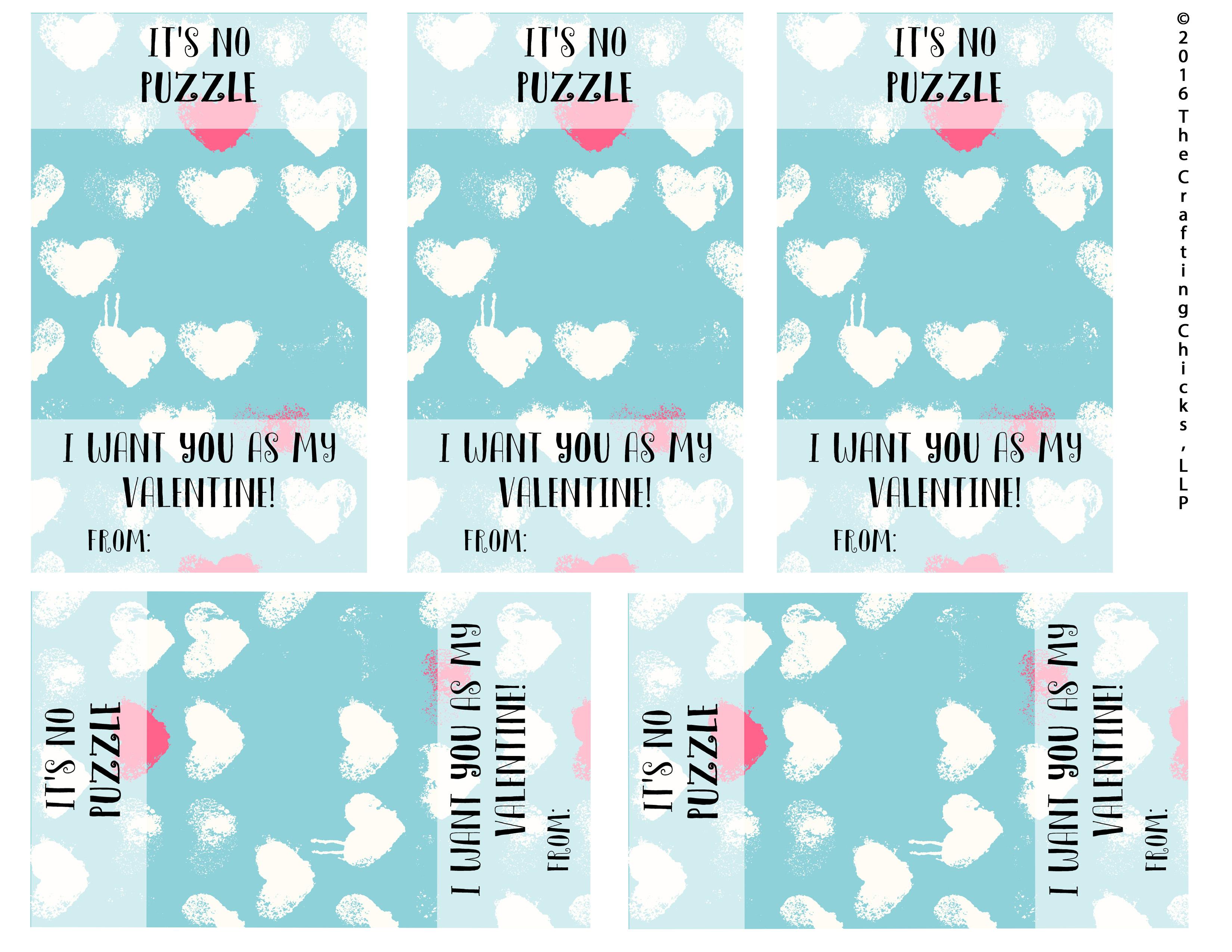 It's No Puzzle Valentines Printables - The Crafting Chicks - Printable Valentine Puzzles