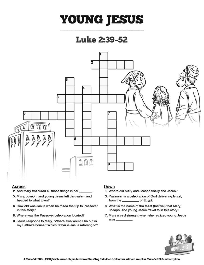 Jesus As A Child Sunday School Crossword: The Jesus As A Child - Printable Joseph Crossword