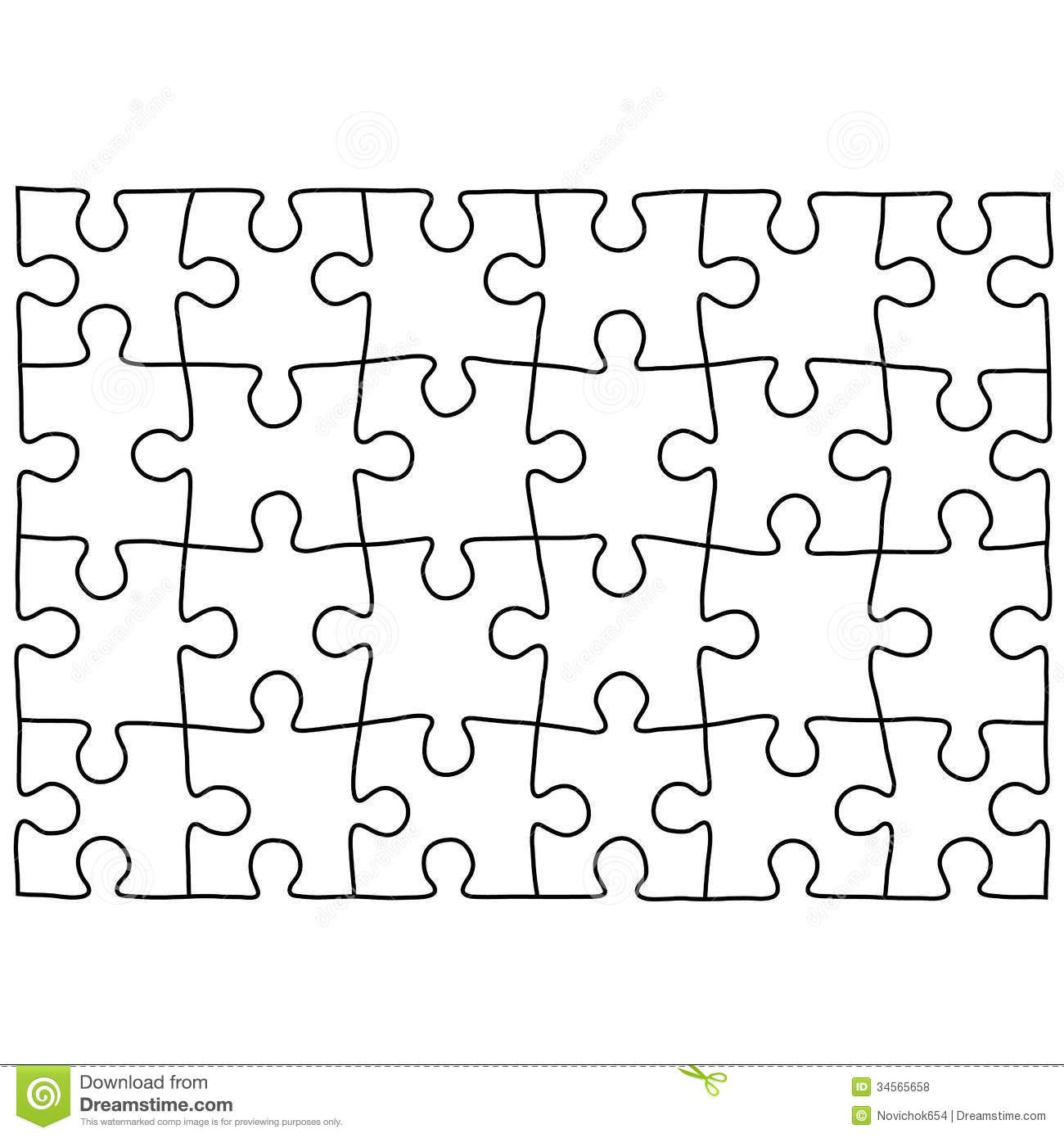 Jigsaw Puzzle Design Template | Free Puzzle Templates 1300.1390 - Printable Drawing Puzzles