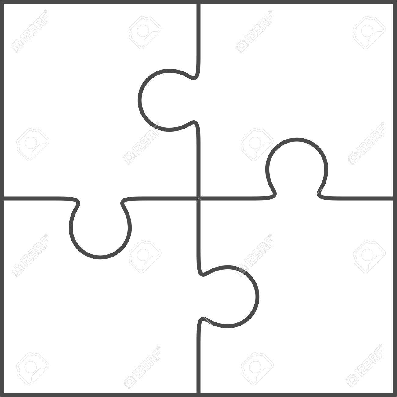 Jigsaw Puzzle Template - Yapis.sticken.co - Printable 4 Piece Puzzle Template