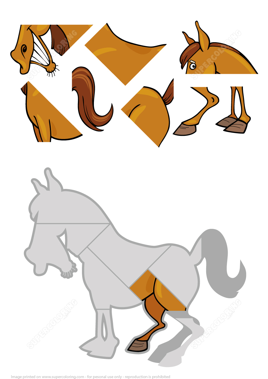 Jigsaw Puzzle With Cartoon Horse | Free Printable Puzzle Games - Printable Horse Puzzles