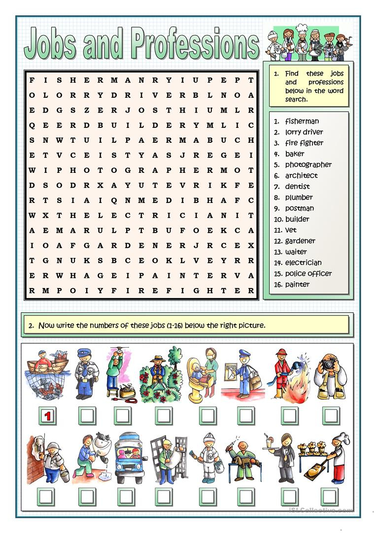 Jobs And Professions Puzzles Worksheet - Free Esl Printable - Printable-Puzzles.com Answers