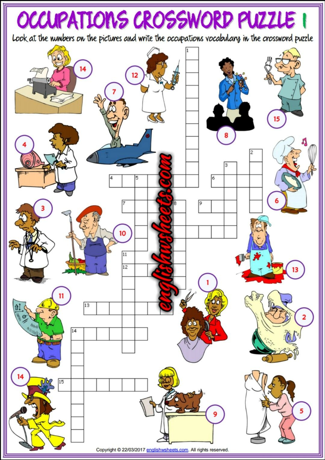 Jobs Occupations Professions Esl Printable Crossword Puzzle - Printable Crossword Puzzles Job