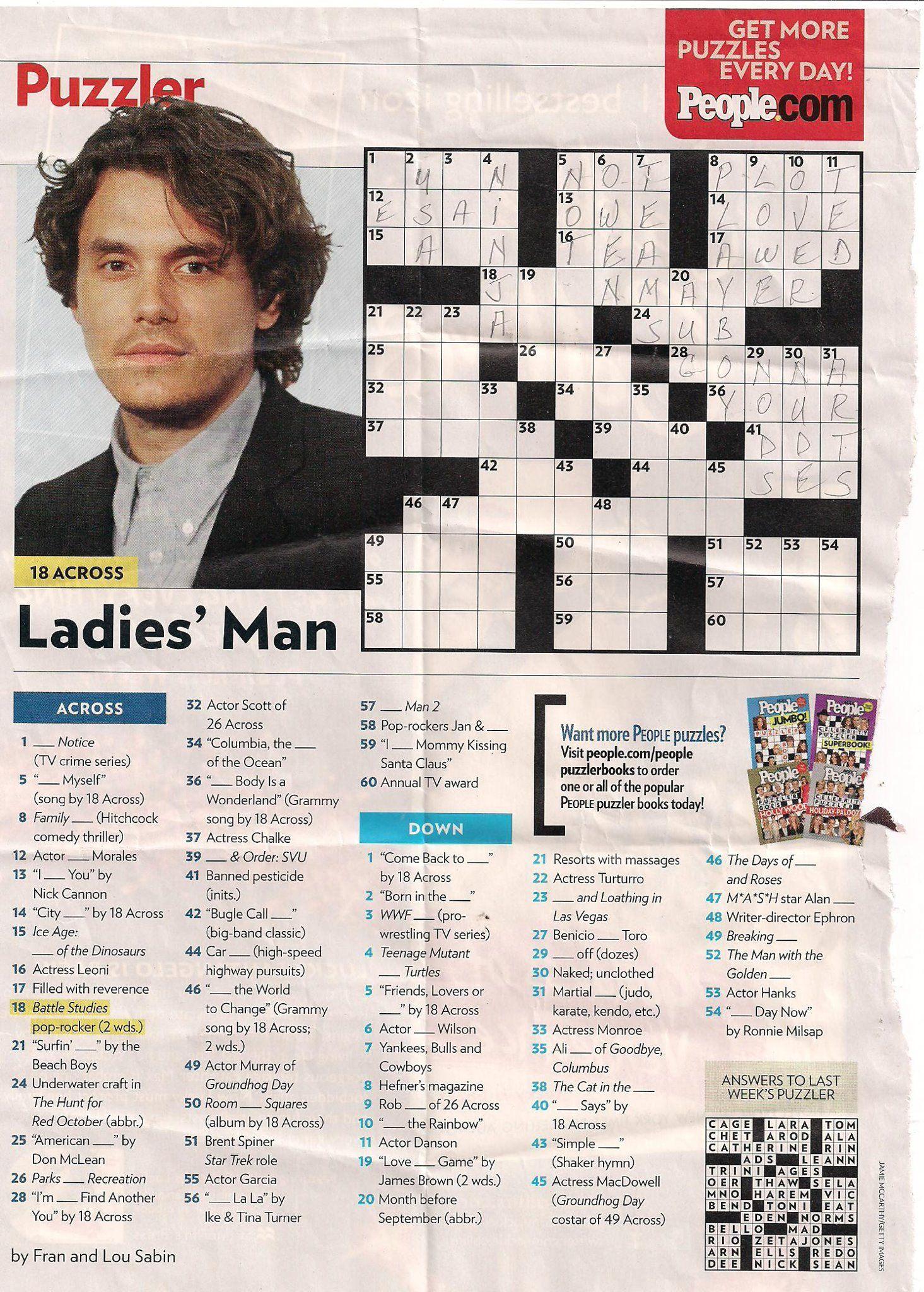 John Mayer - People Magazine Crossword I Love Doin People Magazine - Printable People Magazine Crossword Puzzles