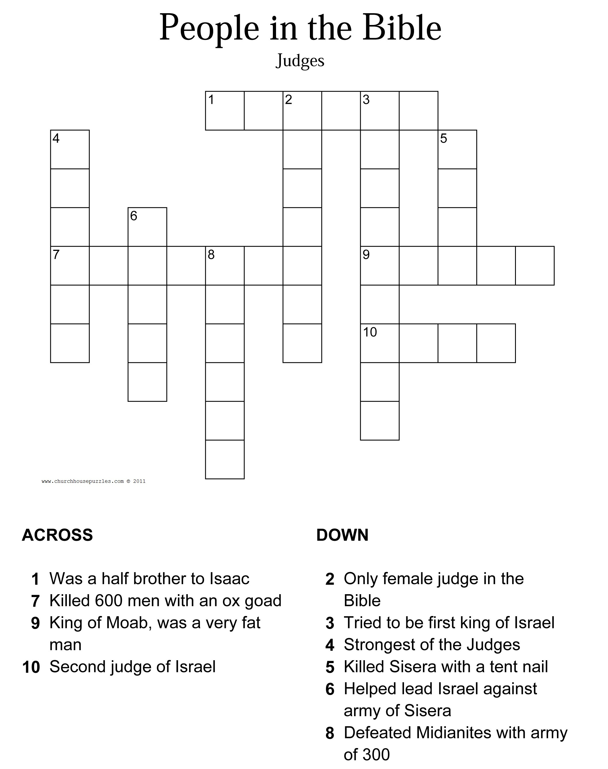 Judges Crossword Puzzle - Printable Biblical Puzzles