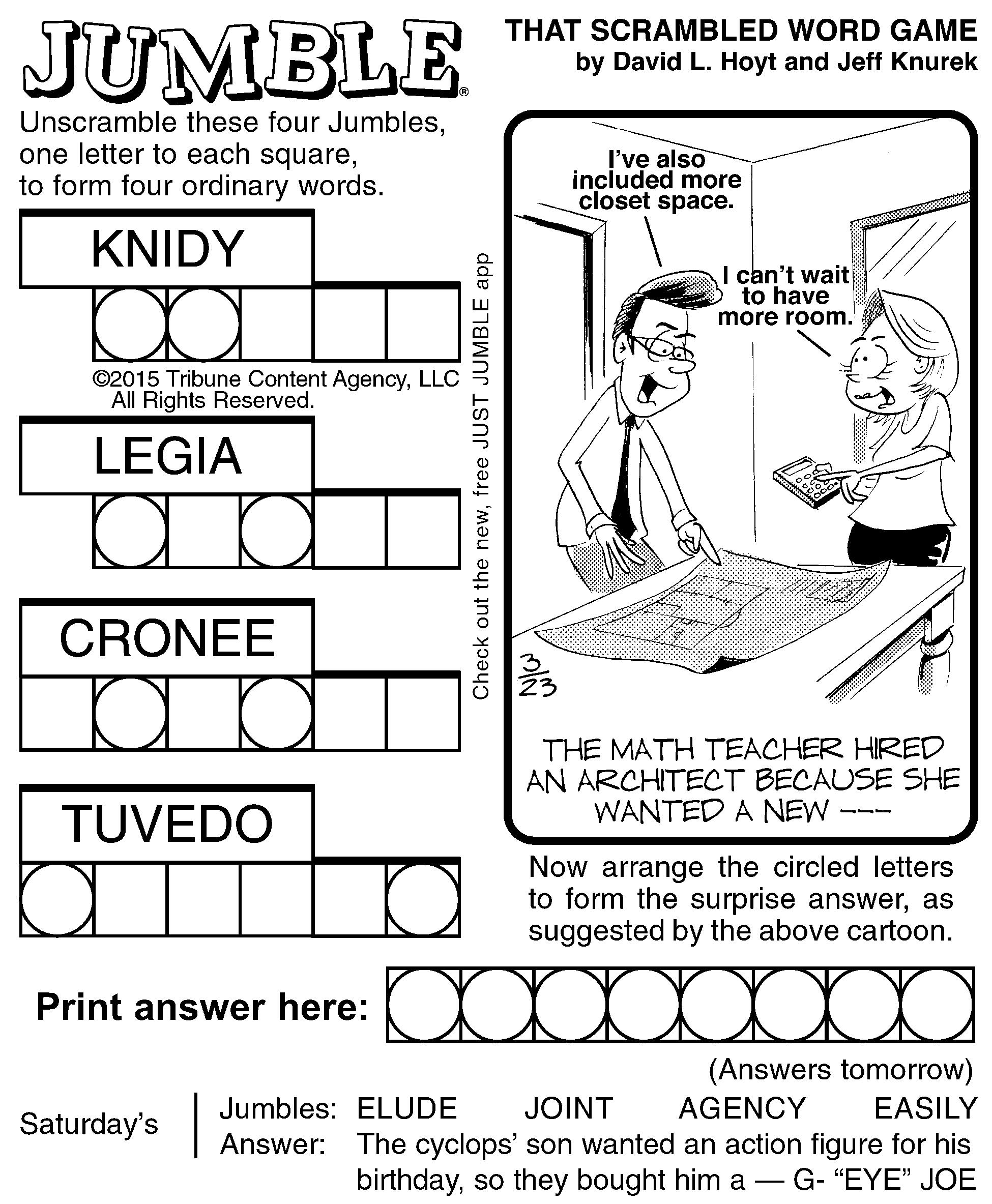 Jumble Archives | Tribune Content Agency - Jumble Puzzle Printable - Printable Jumble Crosswords