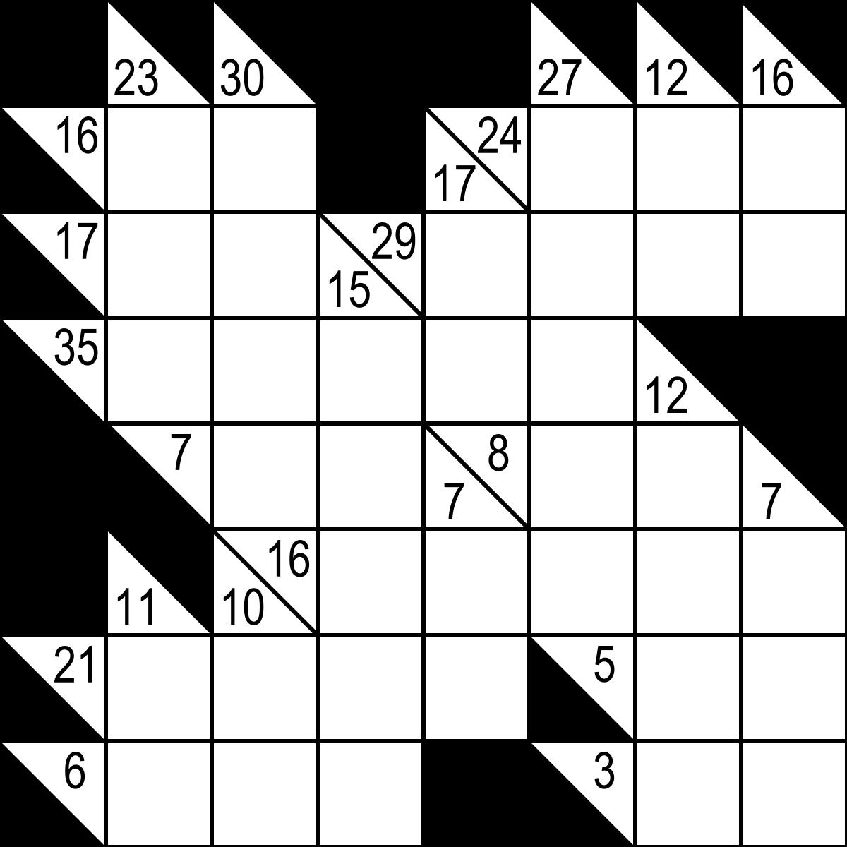 Kakuro - Wikipedia - Printable Kakuro Puzzles Hard