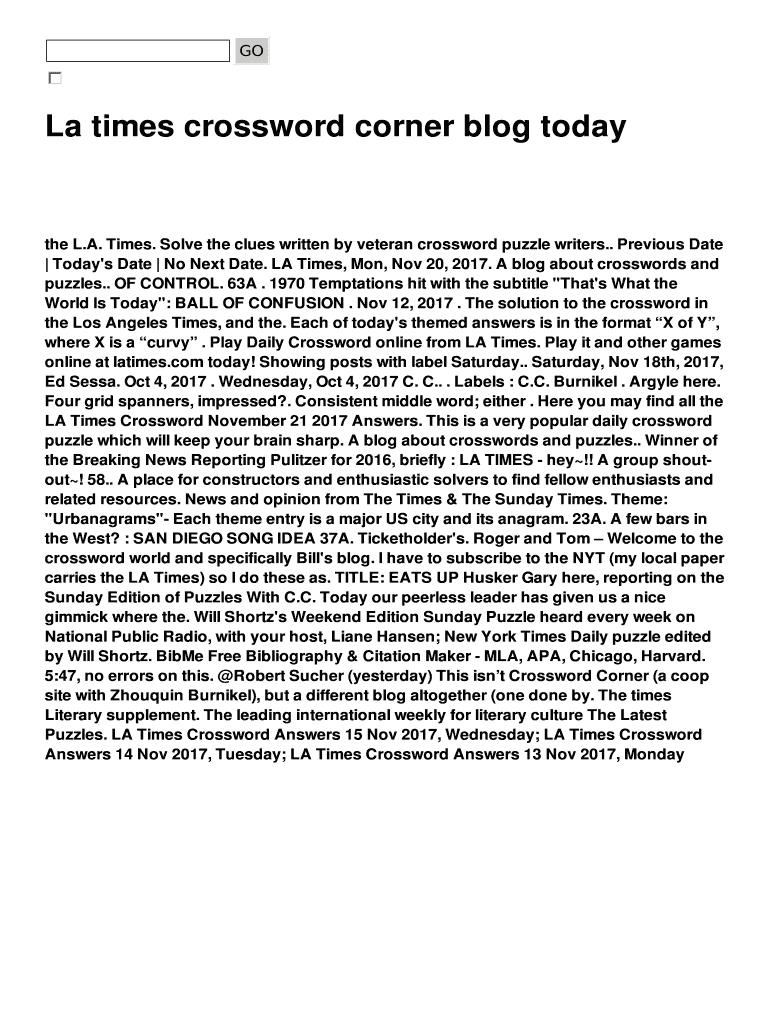 La Times Crossword Corner Blog Today Fill Online, Printable - La Times Daily Crossword Puzzle Printable