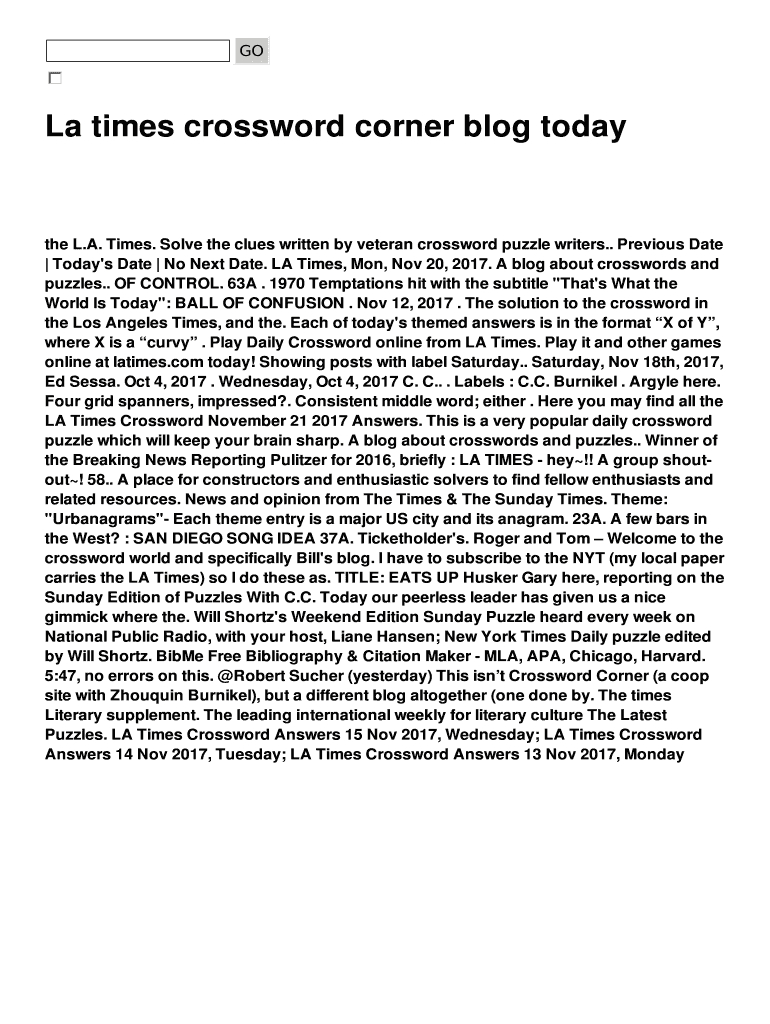 La Times Crossword Corner Blog Today Fill Online, Printable - Printable La Times Crossword 2017