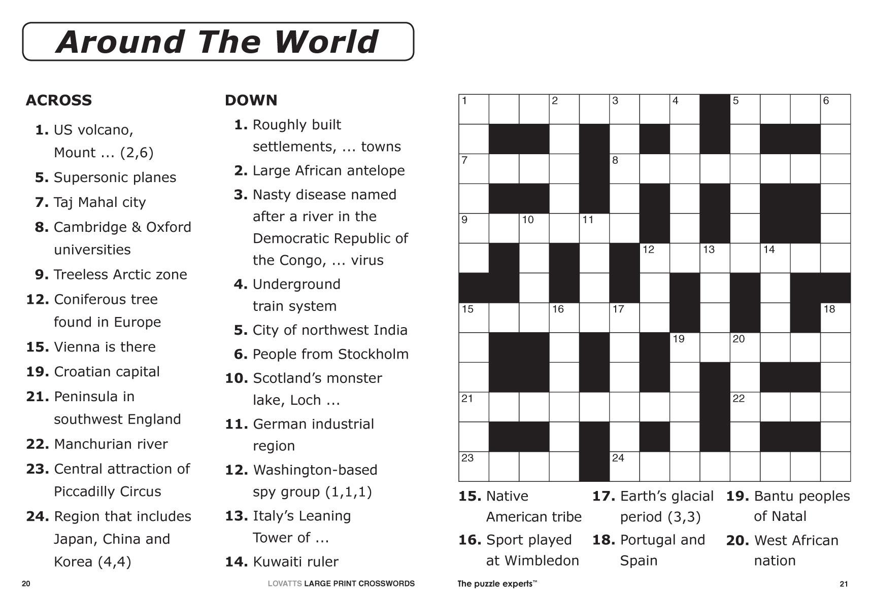 Large Print Crosswords Magazine - Lovatts Crossword Puzzles Games - Teenage Crossword Puzzles Printable Free