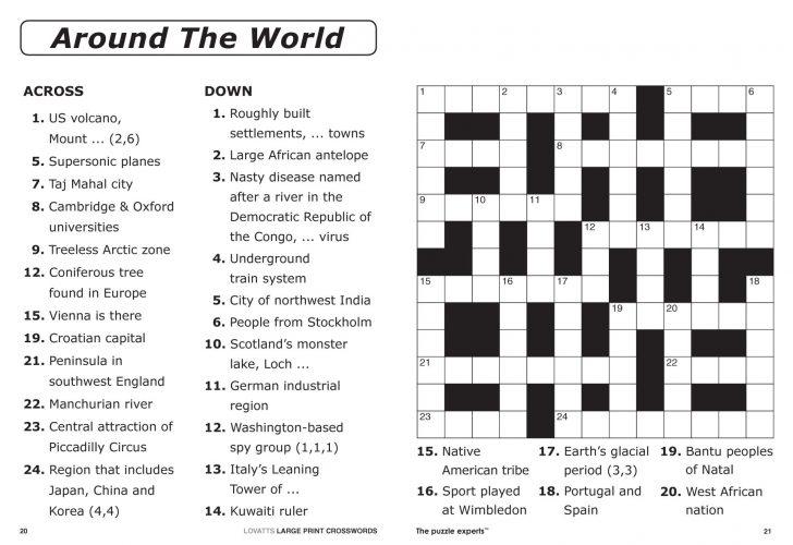 Universal Crossword Puzzle Printable