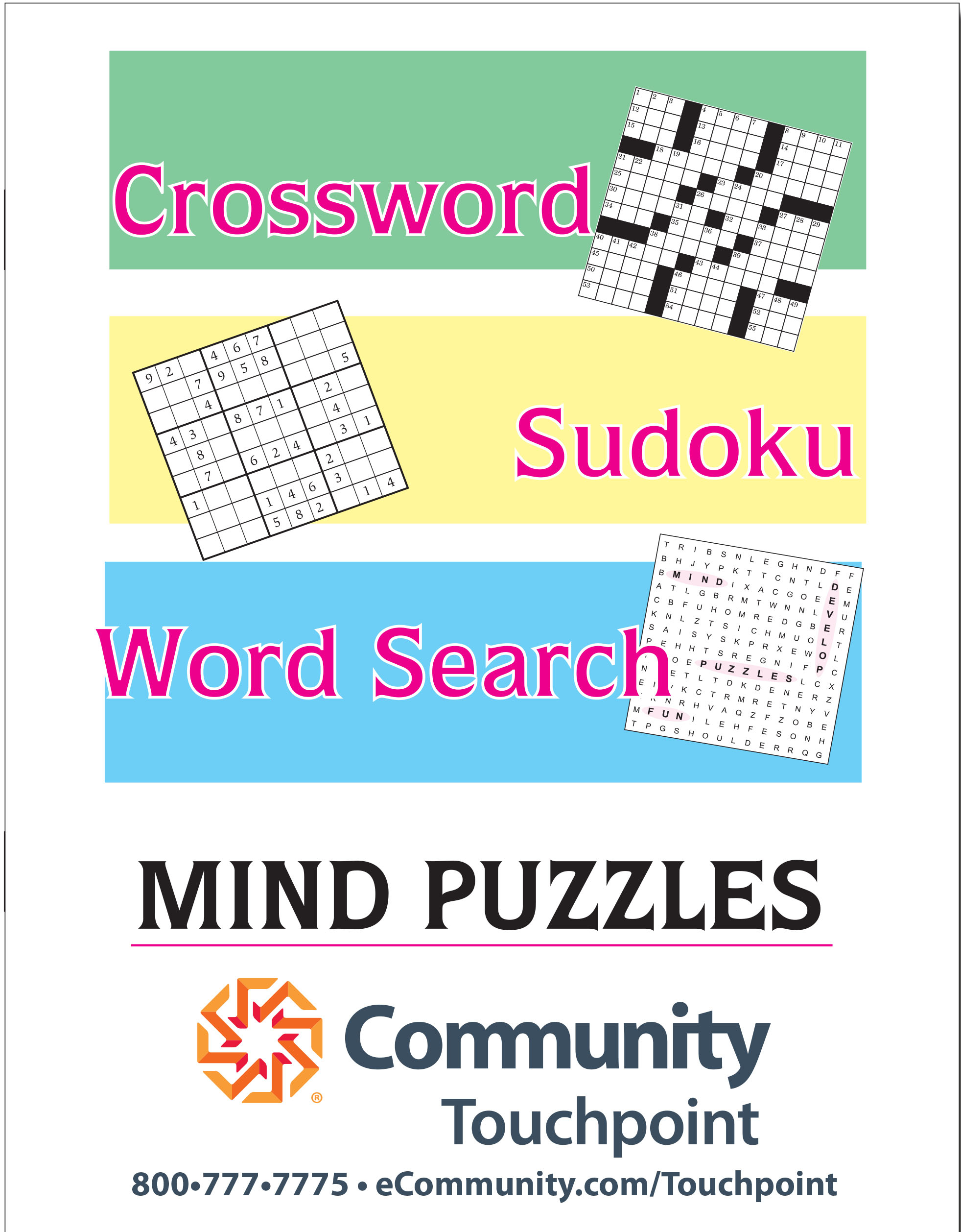 Large Print Puzzle Book (Crossword, Word Search And Sudoku - Printable Puzzle Books