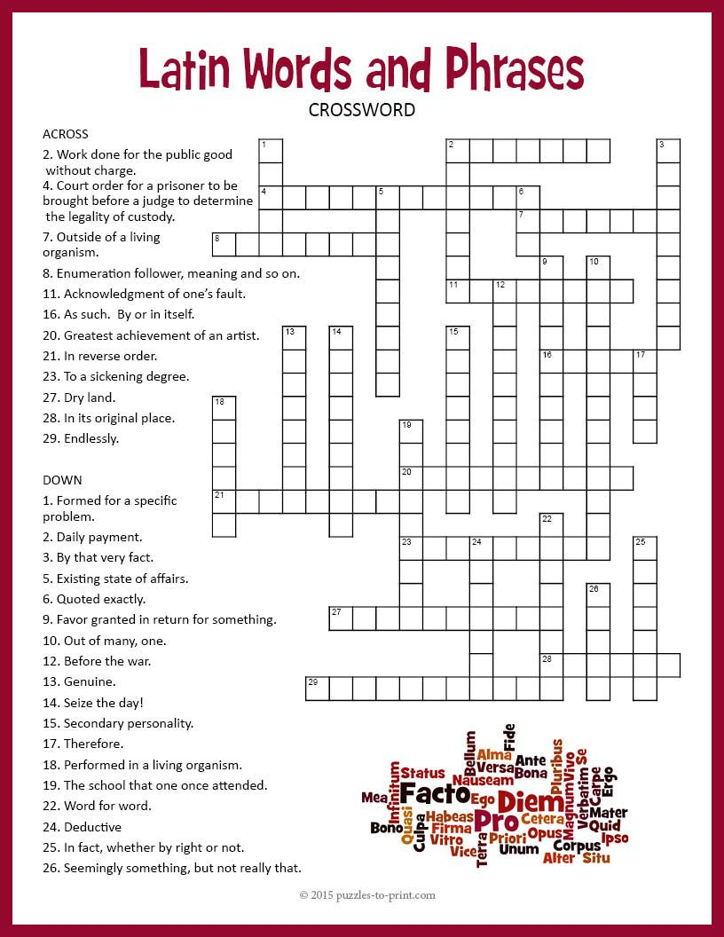 Latin Crossword Puzzle | Tpt Language Arts Lessons | Word Puzzles - Crossword Puzzles In French Printable