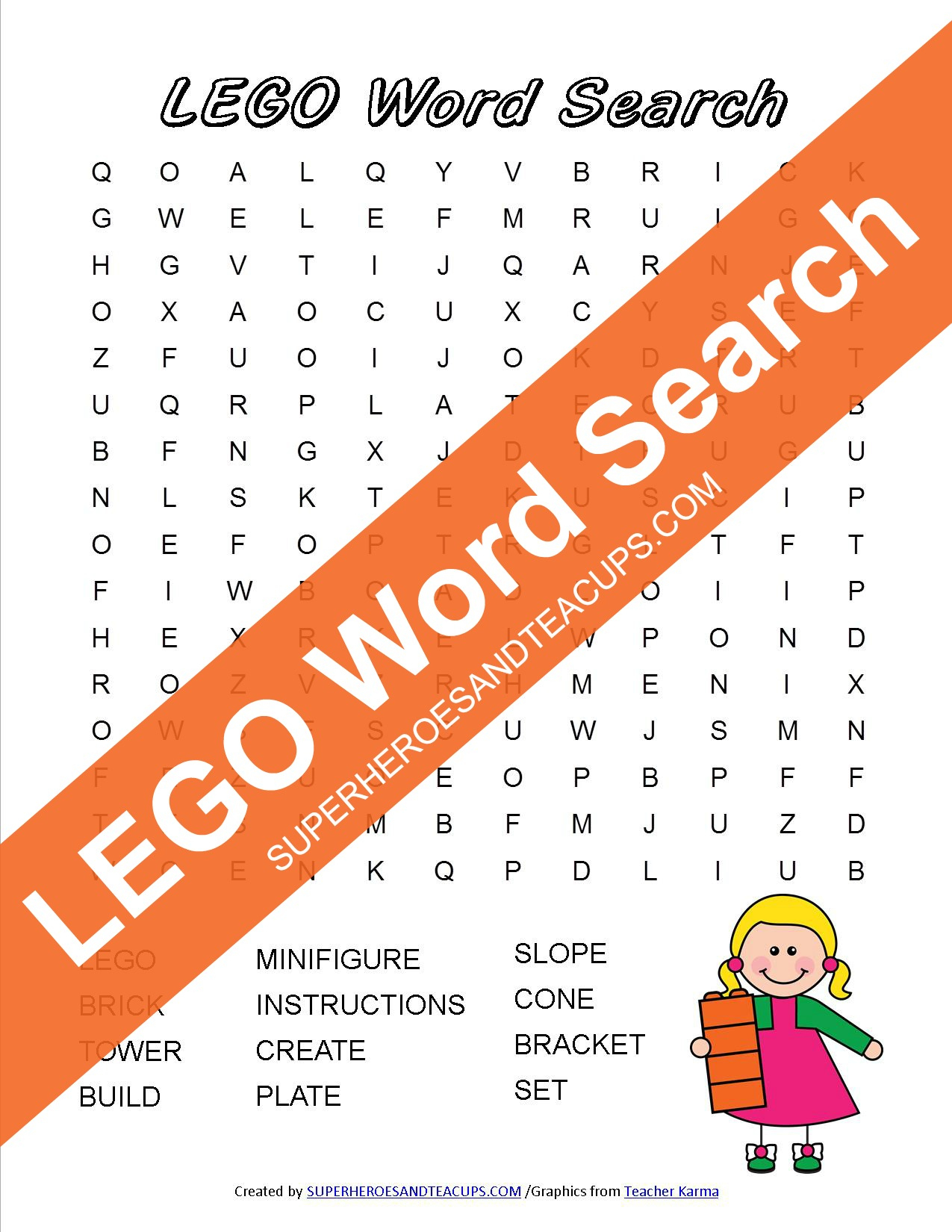 Lego Word Search Free Printable - Printable Lego Crossword Puzzle