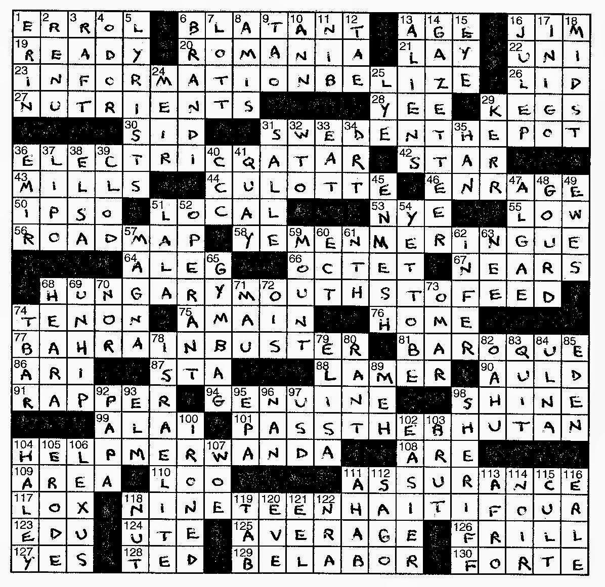 Lem's Levity: Port Cities - Frank A Longo Printable Crossword Puzzles
