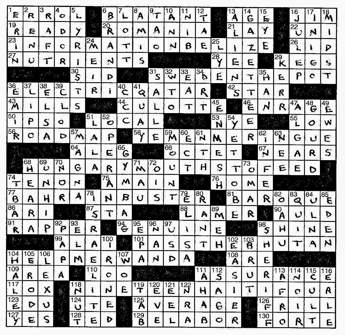 Lem's Levity: Port Cities - Printable Crossword Puzzles By Frank Longo