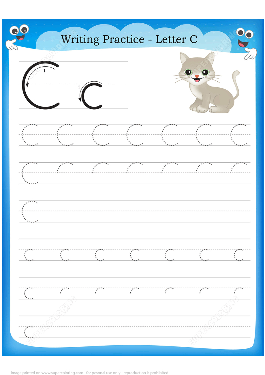 Letter C Is For Cat Handwriting Practice Worksheet | Free Printable - Letter C Puzzle Printable