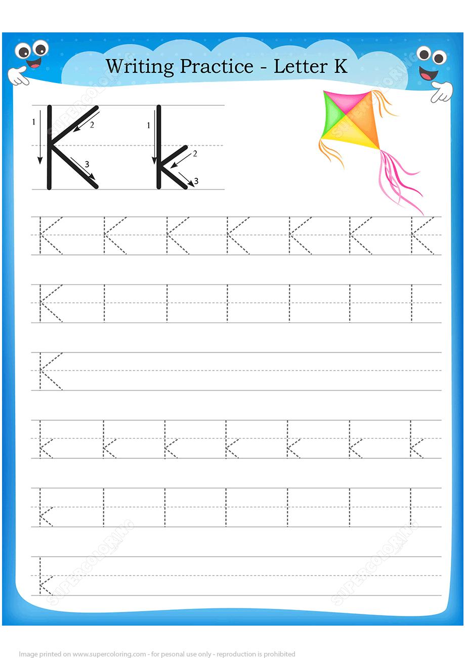 Letter K Is For Kyte Handwriting Practice Worksheet | Free Printable - K Print Puzzle