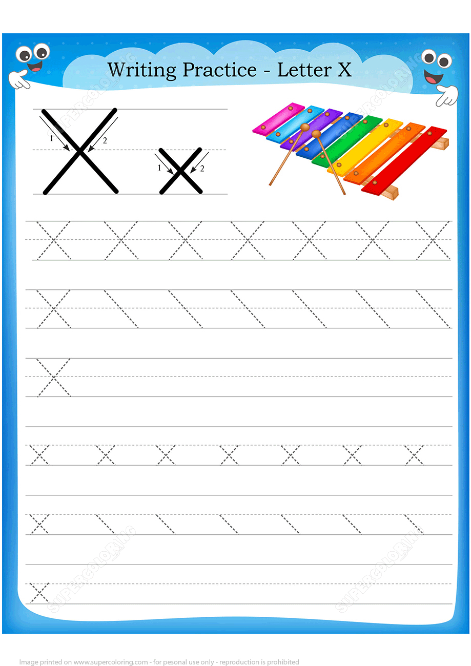 Letter X Is For Xylophone Handwriting Practice Worksheet | Free - X Puzzle Worksheet