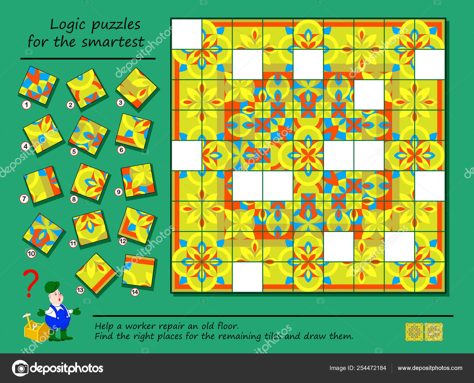 Logic Puzzle Game Smartest Help Worker Repair Ancient Floor Find - Printable Floor Puzzle