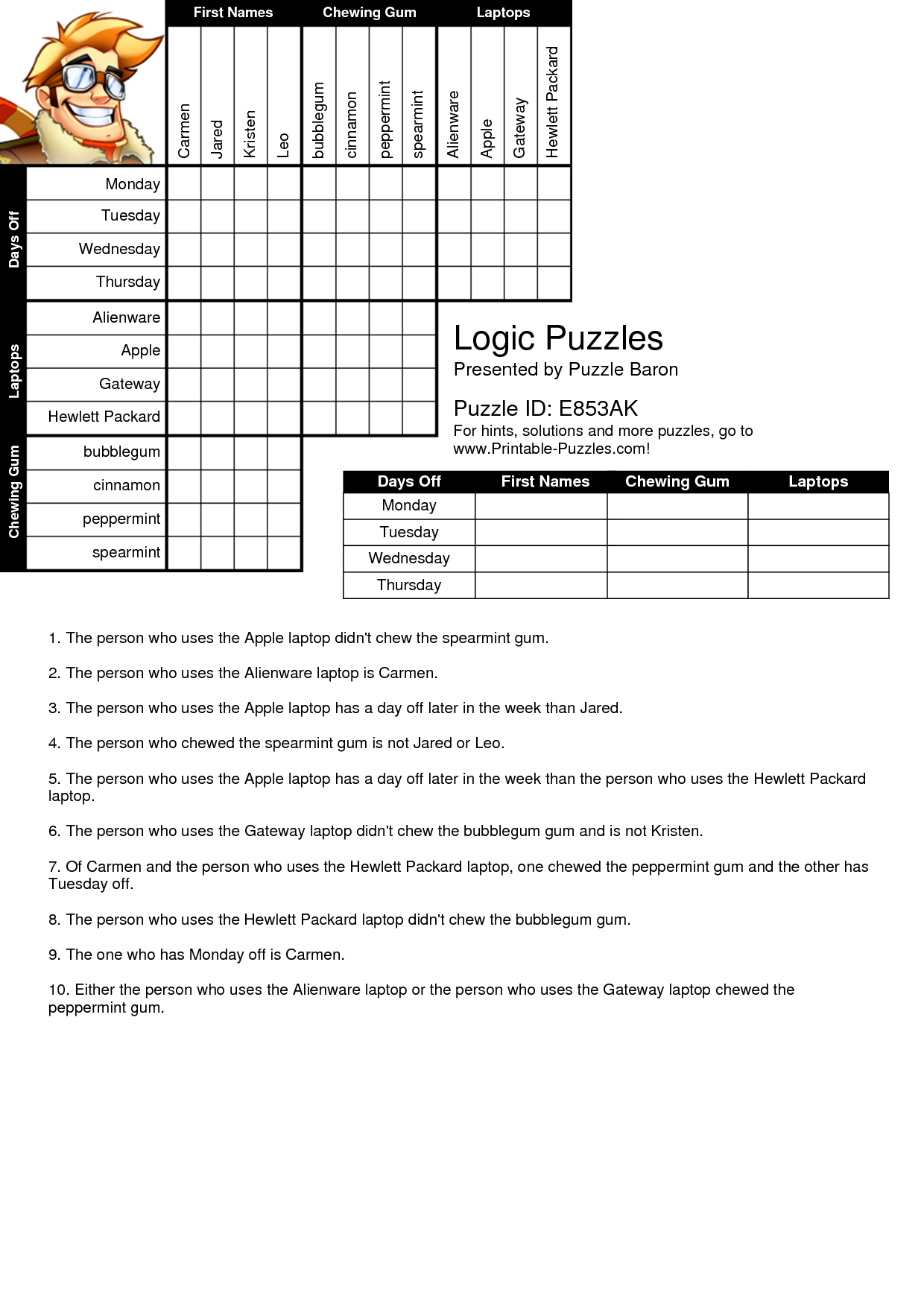Logic Puzzles Worksheets Logic Grid Puzzles Printable New Logic - Printable Grid Puzzles